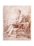 Portrait of Joseph-Jerome Le Francais De Lalande, Full-Length, Seated, in Profile to the Left,… Reproduction procédé giclée par Jean-Honore Fragonard