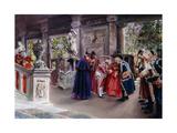 The Cardinal Visits; La Vista Del Cardinal Giclee Print by Jose Gallegos Arnosa