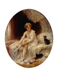 Little Woman Putting on Her Stockings; Petite Femme Mettant Sa Bas Giclee Print by Leon Francois Comerre