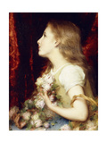 A Young Girl with a Basket of Flowers Giclee Print by Etienne Adolphe Piot