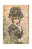 Portrait of a Lady in a Black Dress and Hat, C.1788-90 Giclee Print by Samuel Shelley