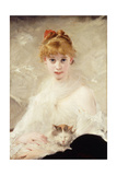 Young Girl with Cat; La Jeune Fille Au Chat Giclee Print by Charles Chaplin