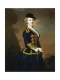 Portrait of Nancy Fortescue, Wearing a Dark Blue Riding Habit with Gold Frogging and Cap Giclee Print by Thomas Hudson