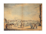 Brighton, Showing Miss Widgett's Circulating Library, Marlborough House, the Castle Inn and… Gicleetryck av John Nixon