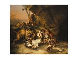 Combat De Tigres Et De Lions Giclée-Druck von Eugene Joseph Verboeckhoven
