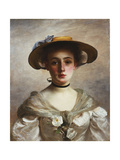 Portrait of a Young Girl in a Straw Hat Giclee Print by Gustave Jacquet