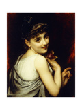 A Young Beauty Holding a Red Rose Giclee Print by Etienne Adolphe Piot