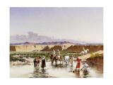 Arab Horsemen Watering in an Oasis Giclee Print by Victor-pierre Huguet