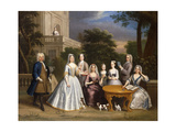 Group Portrait of a Family, in the Grounds of a Country House Giclee Print by Benjamin Ferrers