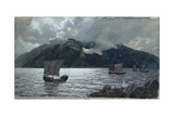 Viking Ships, Sognefjord Giclee Print by Hans Gude
