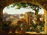 Piazza Barberini, Rome, 1830 Reproduction procédé giclée par Karl Von Bergen