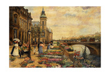 A Flower Market on the Seine Giclee Print by Ulpiano Checa Y Sanz