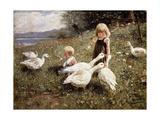 Feeding Geese; Gansefutterung, 1890 Giclee Print by Alexander Koester