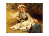 A Mother with Her Sleeping Child, 1896 Giclee Print by Leon Bazile Perrault