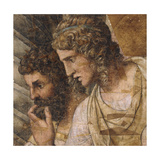 Two Men, Bust Length, Looking Down: a Cartoon for a Tapestry Giclée-tryk af Giulio Romano