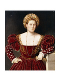 Portrait of a Lady, Three-Quarter-Length, in a Burgundy Dress with Slashed Sleeves, Holding Gloves Giclee Print by Bernardino Licinio