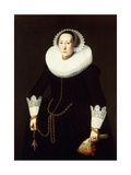 Portrait of a Lady, Standing Three Quarter Length, Wearing an Elaborate Black Costume, a White… Giclee Print by Nicolaes Eliasz