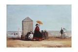 On the Beach at Trouville; Sur La Plage De Trouville, 1865 Reproduction procédé giclée par Eugène Boudin