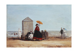 On the Beach at Trouville; Sur La Plage De Trouville, 1865 Giclee Print by Eugène Boudin