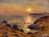 The Setting of the Sun at Douarnenez; Couche De Soleil a Douarnenez, 1883 Stampa giclée di Pierre Auguste Renoir