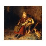 Two Children Playing with Rabbits Reproduction procédé giclée par Felix Schlesinger