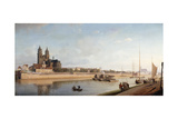 Magdeburg on the Banks of the River Elbe - View from the East to the West; Magdeburg an Der Elbe;… Giclee Print by Johann Philipp Eduard Gartner
