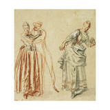 A Scene from the Commedia Dell'Arte: a Girl Resisting the Advances of a Comedian, and an Actress… Giclée-tryk af Jean Antoine Watteau
