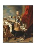 Portrait of King Louis Xv, Full-Length, Wearing Half Armour Giclée-Druck von Louis Michel Van Loo