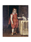 Portrait of a Boy, Full-Length, Wearing a Silver-Embroidered Red Costume, Holding the Paw of a… Giclée-tryk af Lavinia Fontana