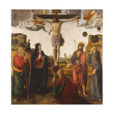 The Crucifixion with the Madonna, Saints John the Baptist, Mary Magdalen, Andrew and Francis, 1503 Giclée-tryk af Cosimo Rosselli