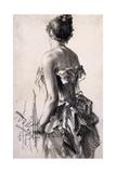 Rear View of a Woman; Ruckenansicht Einer Dame, 1888 Giclee Print by Adolph Friedrich Erdmann von Menzel