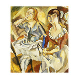 Young Girls Sitting Together (Recto); Jeune Filles Attablees (Recto), 1915-1919 Gicleetryck av Jules Pascin