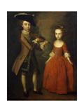 The Archbold Children: a Group Portrait of a Little Boy  Full Length Wearing a Beige Coat  Dark…