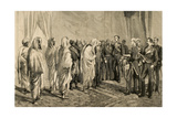Alphonse Xii Receiving the Congratulations of the Moroccan Embassy. Ceuta, Spain. 1877. Engraving Giclee Print by Arturo Carretero y Sánchez
