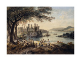 Conway Castle, with John Smith 'The Blind Harper' in the Foreground, 1796 Giclee Print by Julius Caesar Ibbetson