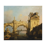 A Capriccio of a Ruined Renaissance Arcade and Pavillion by a Waterway Crossed by a Wooden… Giclee Print by  Canaletto