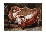 An Elegant Lady in a Red Dress Giclee Print by Eduardo-leon Garrido