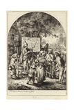 A Crowd Gather around a Man Gesticulating with a Stick in His Left Hand Giclee Print by German School
