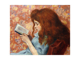 Young Girl Reading Giclee Print by Federigo Zandomeneghi