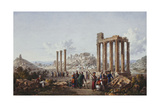 A View of the Acropolis, Athens, from the Temple of Zeus at Olympia, C.1786-87 Giclee Print by Louis Francois Cassas