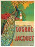 Cognac Jacquet - Affiche vintage avec paon Reproduction procédé giclée par Camille Bouchet