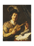 A Young Man Tuning a Violin, C.1623-5 Giclee Print by Jan The Elder Lievens