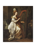 Portrait of Elizabeth Ewer, Full-Length, Seated in a White Dress with a Yellow Shawl, Playing a… Giclee Print by Angelica Kauffmann