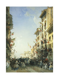 The War in Italy: the Entry of the King of Sardinia into Brescia, 1859 Giclee Print by Carlo Bossoli