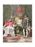 Pope Clement VII (14781534), with the King of France Francis I (1494-1547). Colored Engraving Giclee Print