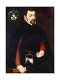 Portrait of a Gentleman Aged 28, Three-Quarter Length, in a Black Doublet with Red Sleeves and a… Giclee Print by Sir Anthonis van Dashorst Mor