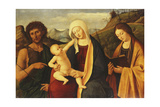 The Madonna and Child, with Saint John the Baptist and a Female Saint Giclee Print by Marco Basaiti