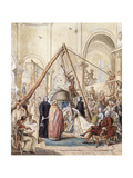 The Blessing of the Bell of the Village Church at Ormesson by the Marquisse D'Ormesson, Attended… Giclee Print by Elias Martin