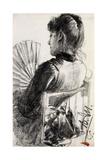 Lady with a Fan, 1885 Giclee Print by Adolph Friedrich Erdmann von Menzel