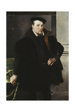 Portrait of a Gentleman, Three-Quarter Length, in a Black Coat with Fur Lining, 1551 Giclée-Druck von Maarten de Vos